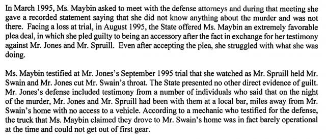 Excerpt from Chris Mumma letter to NC Parole Commission re: Brandon Jones and Leroy Spruill, December, 2020.