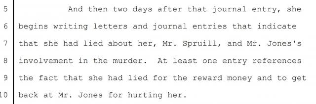 Excerpt from the Jones/Spruill Innocence Commission hearing transcript, page 880.