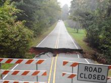 Sinkhole forms in Raleigh after heavy rains, flooding