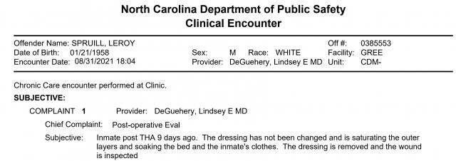 Leroy Spruill medical records excerpt, Aug. 31, 2021.