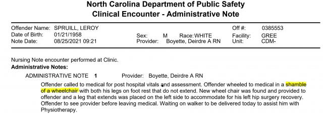 Leroy Spruill medical records excerpt, Aug. 25, 2021.