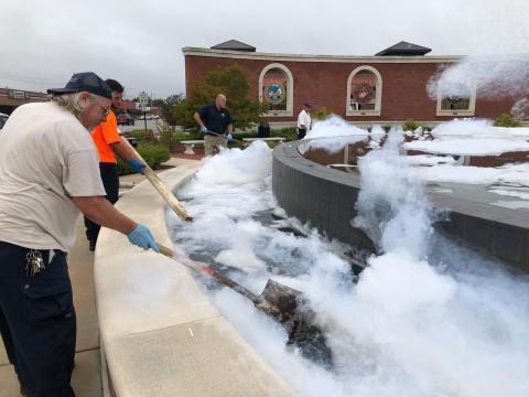 Jacksonville Freedom Fountain 'soaped' overnight