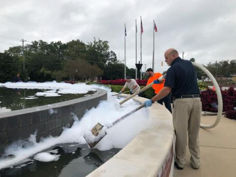 Crews clean soap out of Jacksonville's Freedom Fountain.