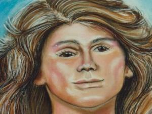 A sketch shows what a woman found along I-40 might have looked like.