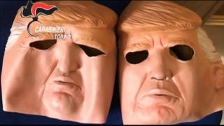 RAW: Bank robbers wore in Trump masks