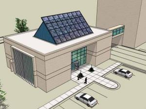 Artist's rendering of LEED-certified public works customer service center in Fayetteville