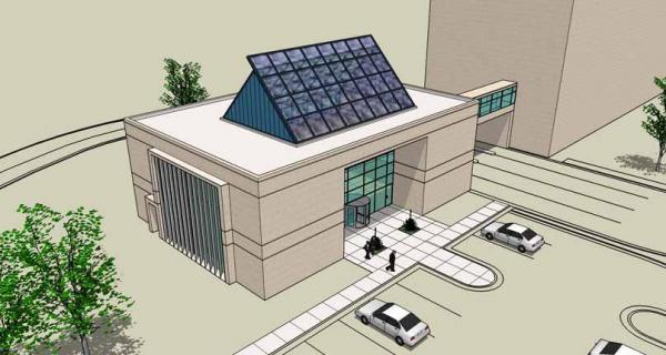 Artist's rendering of LEED-certified public works customer service center in Fayetteville