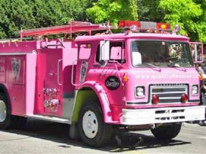 A pink fire truck is a hallmark of the Pink Ribbon Tour, a nationwide effort by firefighters, police officers and community leaders to support those who are battling breast cancer and to educate others about the disease.