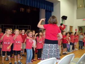"Students at Laurel Park Elementary perform the school song, ""Funky Penguin."""