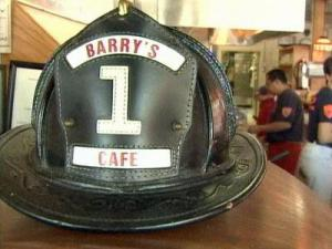 A firefighter hat at Barry's Cafe in Raleigh.