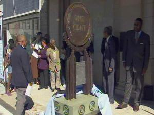Durham officials unveiled three of six sculptures on Parrish Street on Oct. 15, 2008, to honor the legacy of economic achievement and opportunity created a century ago by local black entrepreneurs.