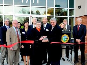 Officials at the ribbon cutting of the new state Office of Administrative Hearing building on Dec. 5, 2008.