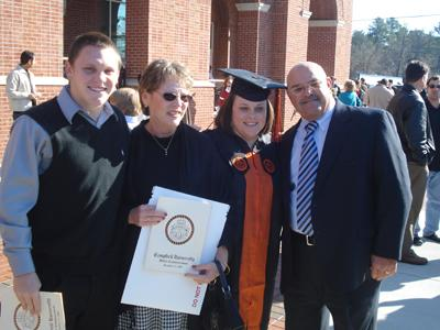 Campbell University graduate Mandy Pugliese is congratulated by her family. (Submitted by Harry Pugliese)