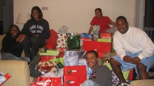 Medical students (from left): Katherine Young, Tolu Adebanjo, Michael Kelso, Tristan Byrd and Fortune Egbulefu gathered gifts for Durham families.