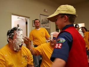 Cub Scouts in north Raleigh Pack 352 got to treat their leaders to cream pies as a reward for the Cubs' success in their annual fundraising popcorn sale.