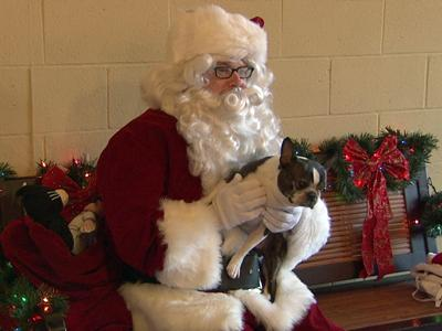 A dog sits with Santa at Phydeaux's pet supply store in Chapel Hill.