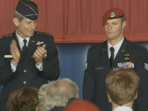 Staff Sgt. Zachary Rhyner was presented with the Air Force Cross in a ceremony Tuesday at Pope Air Force Base.