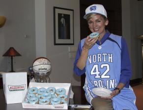 Michgan Gov. Jennifer M. Granholm donned Carolina blue as a result of the Tar Heels' NCAA men's basketball championship.