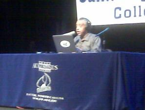 Rev. Al Sharpton did his national radio broadcast from St. Augustine's College in Raleigh Friday.