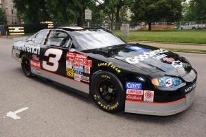 A #3 car driven by Dale Earnhardt Sr., a legendary figure in NASCAR history, is on exhibit at the N.C. Museum of History. The Richard Childress Racing #3 GM Goodwrench Chevrolet is a 2000 Monte Carlo body style. Photo credit: N.C. Museum of History