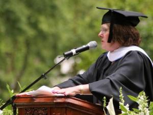 Barbara Lyons Goodmon of Raleigh, president and executive director of the A.J. Fletcher Foundation, delivered the commencement address at Barton College on Sunday, May 24, 2009.