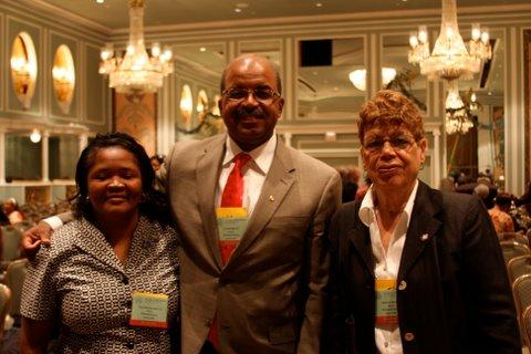 Tonya Whitt-Harrington from the Richmond County delegation, Dr. Allen Mask and his mother, right, attended the NAACP Convention in New York City.