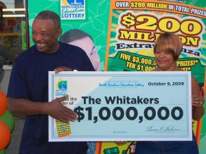 "Ricky and Regina Whitaker won $1 million in the North Carolina Education Lottery ""$200 Million Extravaganza"" scratch-off game."