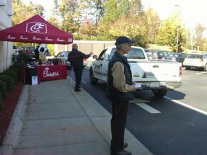 Volunteers accepted donations and handed out coupons Thursday at a Chick-fil-A in Cary.