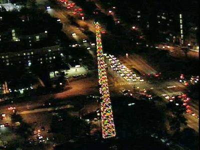 WRAL will marked 50 years as a beacon of holiday cheer on Dec. 1, 2009, when the lights went on at the transmission tower outside the WRAL-TV Studios.