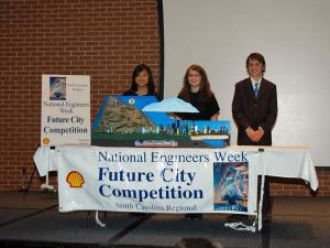 A team of eight-grade students from Davidson IB Middle School won first place at the North Carolina National Engineers Week Future City competition Saturday, Jan. 23, 2010.