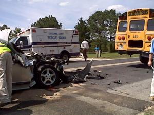 No students were hurt when a car hit and Edgecombe County school bus Friday afternoon.