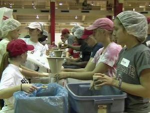 North Carolina State University students held a Stop Hunger Now meal-packaging project to benefit Haiti relief on Saturday, Aug. 21, 2010.