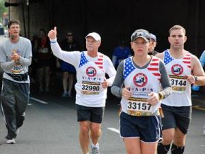 """Steve Mitchell completed the Marine Corps Marathon in Washington, D.C., in honor of Capt. David """"Seth"""" Mitchell."""
