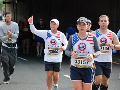 "Steve Mitchell completed the Marine Corps Marathon in Washington, D.C., in honor of Capt. David ""Seth"" Mitchell."