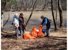 Volunteers on foot and in boats cleared trash Saturday in the Haw River basin. (Photos courtesy Haw River Assembly)