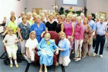 Sara May Stallings with a group of students she has taught throughout the years. This was taken during her 100th birthday party in Bailey, N.C. on July 14, 2010.