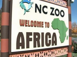 The North Carolina Zoo includes exhibits representing Africa and North America.