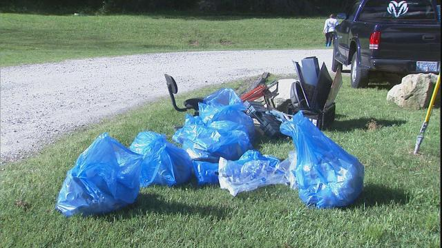 People picked up trash and debris along the Neuse River from Falls Dam in North Raleigh through Johnston County.