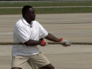 WRAL's Ken Smith participated in the Plane Pull for Special Olympics Saturday.