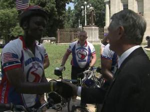 First Gentleman Bob Eaves greeted wounded warriors Friday when their ride brought them to the State Capitol.