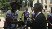 IMAGE: Wounded vets bicycle to build morale