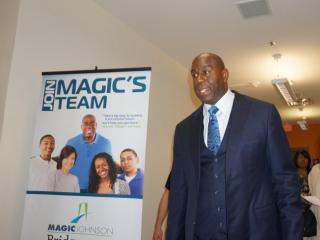 """""""Magic"""" Johnson met with students Tuesday at the Magic Johnson Bridgescape Academy."""