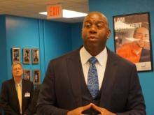 """Magic"" Johnson visited students and teachers at Durham's Magic Johnson Bridgescape Academy on Tuesday."
