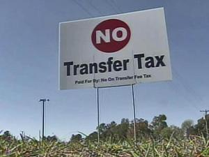 Transfer tax opposition sign