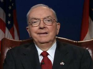 "U.S. Sen. Jesse Helms, R-N.C., announces on Aug. 22, 2001, his decision not to seek re-election for a sixth term in office. ""Not in my wildest imagination did it ever occur to me that such a privilege would ever be mine,"" he said of his 30-year term as North Carolina senator."