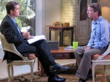 Former Democratic presidential candidate John Edwards speaking to ABC News' Bob Woodruff in Chapel Hill on Aug. 8, 2008. (photo courtesy of ABC News)