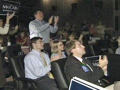 Local supporters of Sen. John McCain gathered at the Raleighwood Theater on Sept. 4, 2008 to watch the Arizona senator's speech at the GOP convention.