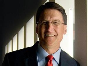 Pat McCrory poses for a quick portrait following the debate.
