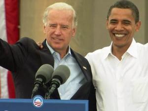 Democratic presidential nominee Barack Obama and running mate Sen. Joe Biden speak at a rally in Greensboro on Sept. 27, 2008.