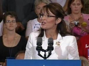 Alaska Gov. Sarah Palin, the Repulican vice presidential nominee, speaks at an Oct. 7, 2008, rally in Greenville.